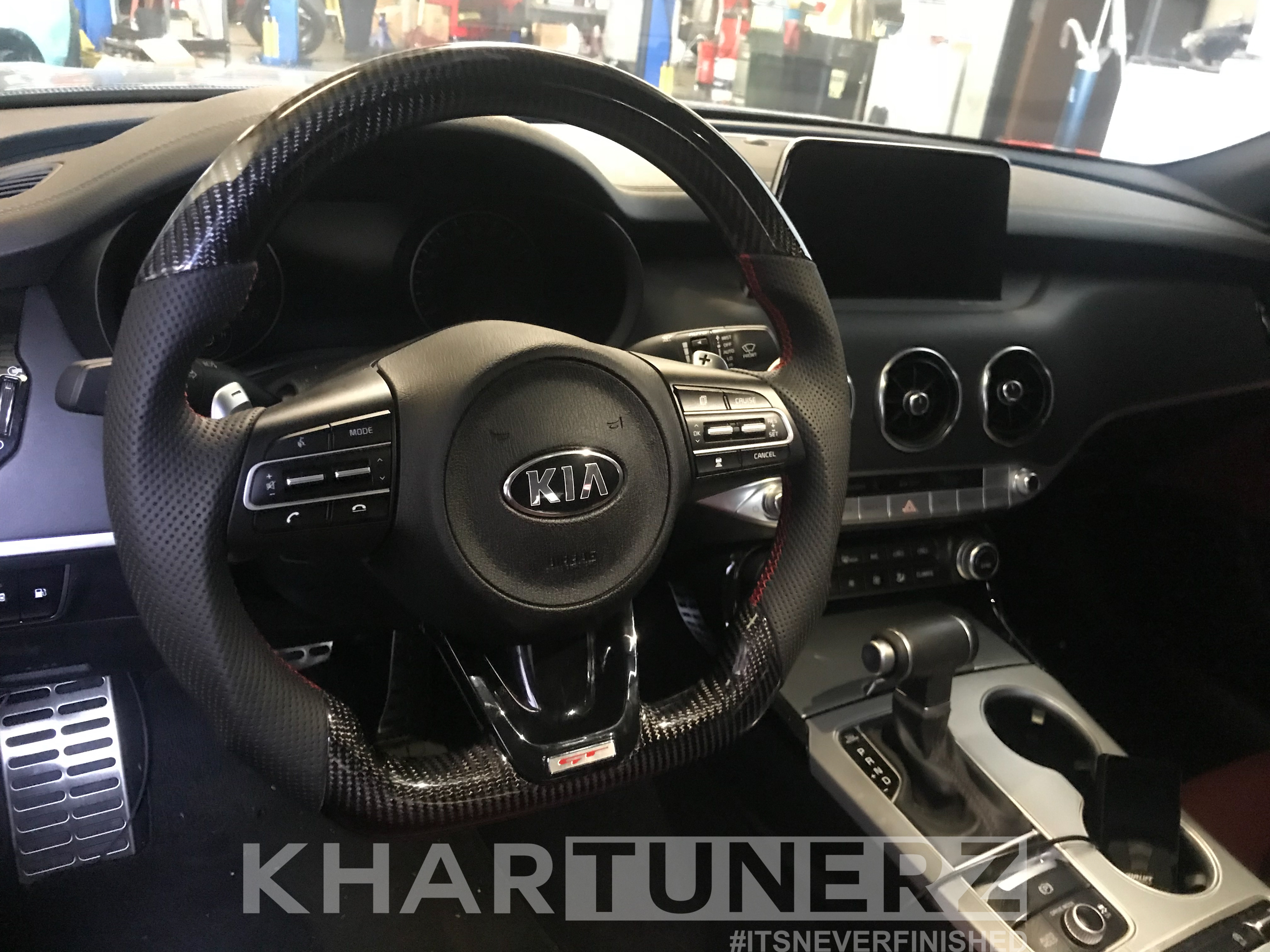 Custom Kia Stinger Steering Wheel Carbon Fiber Suede Alcantara