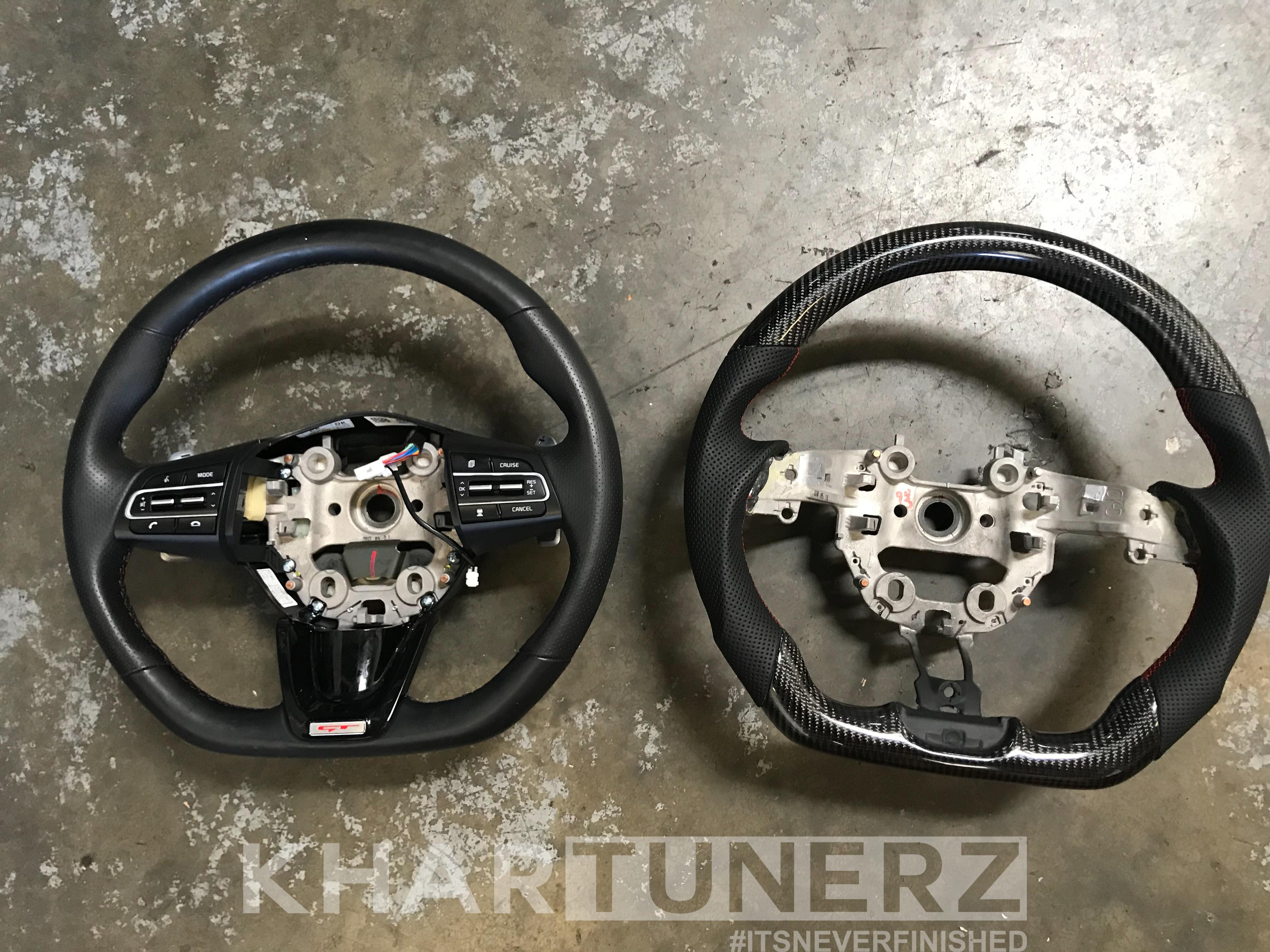 Custom Kia Stinger Steering Wheel - Carbon Fiber, Suede, Alcantara