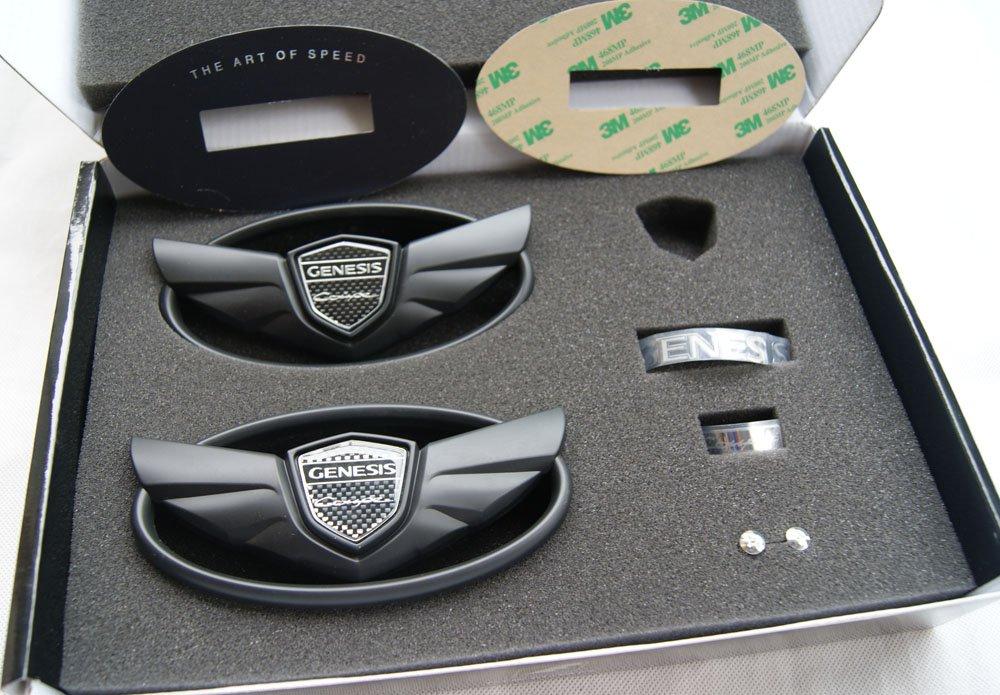 "Hyundai Elantra Coupe >> Genesis Coupe Wing Emblem Set ""The Art Of Speed"" - Matte Black"