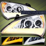 Streak Style Chrome Dual Projector Headlights with Amber Corner Lens
