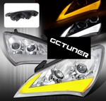 Streak Style Chrome Dual Projector Headlights with Clear Corner Lens
