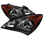 Hyundai Genesis Coupe Spyder Headlights with Angel Eyes -Black