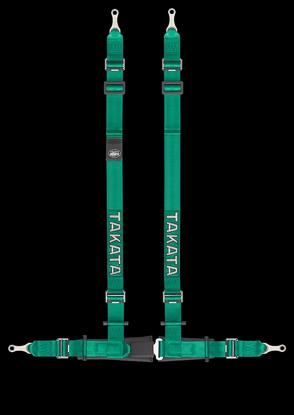 Takata Drift II 4-Point Harness Black Bolt-On GREEN