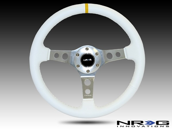 "350mm Sport Steering Wheel (2"" Deep) White Leather with White Stitching"