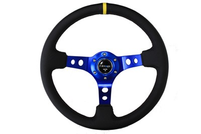 "350mm Sport Steering Wheel (3"" Deep) - Blue w/ yellow center marking"